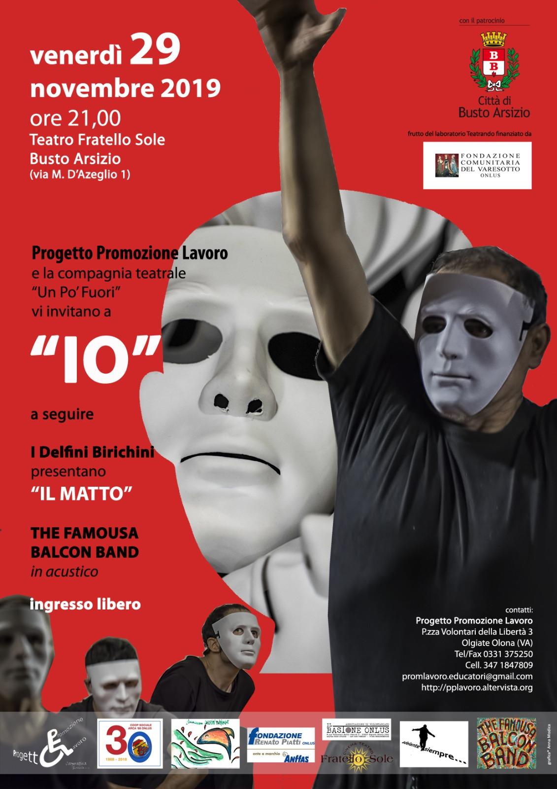 """Venerdì 29 novembre lo spettacolo """"IO"""" al Teatro Fratello Sole di Busto Arsizio"""