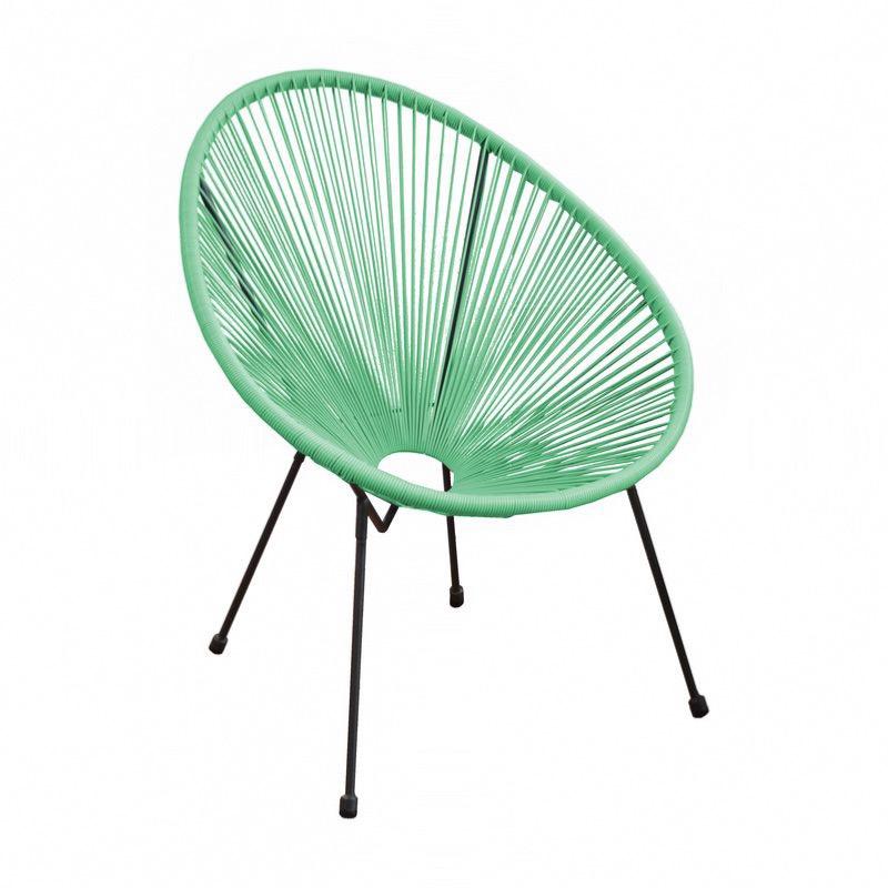 fauteuil rio chassis acier epoxy grey fil resine amande l72xh89xp76 cm ha 44 cm