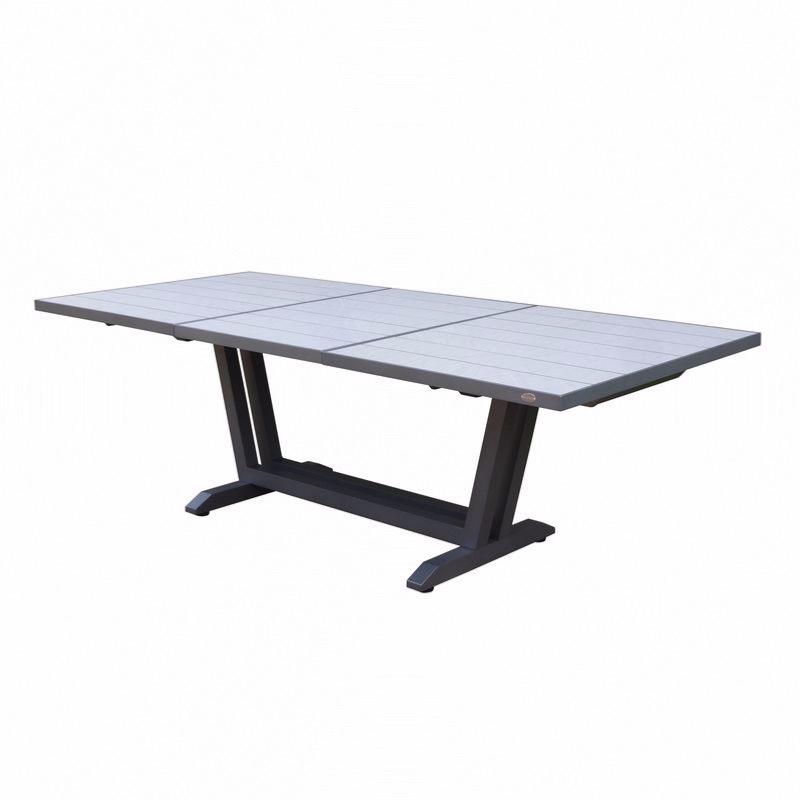 amaka table 170 230x90cm pied gris plateau hpl coloris ceramique grise les jardins