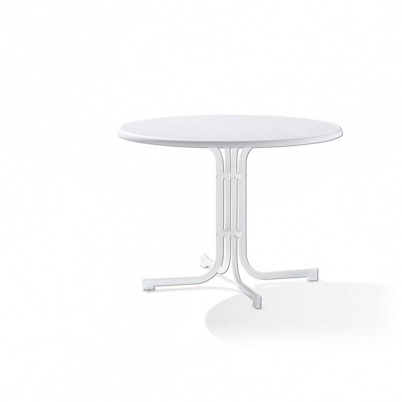 table pliante ronde o100 cm pied acier blanc et plateau mecalit pro couleur marbre blanc