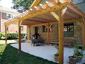 a pergola and a roof