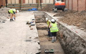 3. The third trench being cleaned by archaeologists after machining (Credit - University of Leicester)