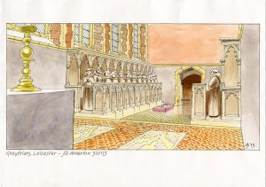 Artist's reconstruction of the choir of the grey friars church looking west showing the alabaster slab laid over the burial place of Richard III. Credit: Jill Atherton
