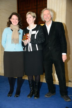 Rebecca Jones (centre), winner of the Book of the Year prize (for Roman Camps in Britain), at the prestigious Current Archaeology awards. Left: Oxbow Books editor Clare Litt, and Right: Meet the Ancestors' Julian Richards, who presented the awards