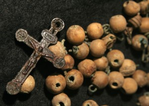 Very few grave goods were found during the excavations, but this set of rosary beads was found with the skeleton of a 26-35 year-old female. Image: Jonny Geber
