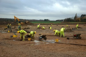 Cambridge Archaeological Unit has investigated 14ha outside the city, revealing Roman activity spanning four centuries, as well as archaeological features stretching back to the Middle Bronze Age (c.1500 BC).  Credit: Dave Webb