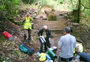 Volunteers investigating Thornliebank house and tea room at Rouken Glen Park, East Renfrewshire