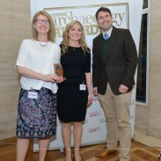 Nora Bermingham (left) and Caitriona Moore (centre) (Rescue Dig of the Year 2016), with Dr Matthew Symonds, Editor of Current Archaeology Magazine. Aerial-Cam / Current Archaeology