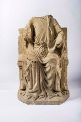 The late 13th-century sculpture of Christ in Majesty, probably from the pulpitum.