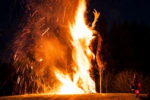 Beltane wicker man being burnt at Butser