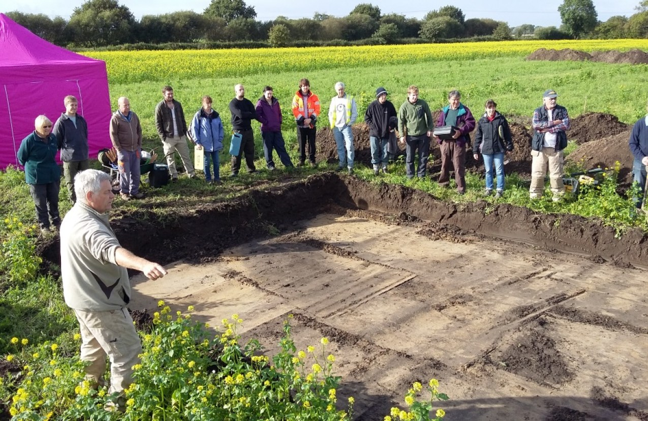 The team during a site briefing in 2017 [Photo Credit: North Duffield Conservation and Local History Society]