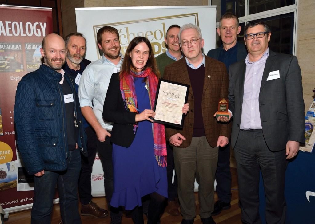 Members of MOLA Headland Infrastructure collect the award for Rescue Project of the Year 2019 at the Current Archaeology Awards.