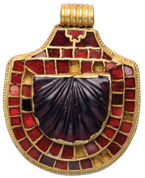 Anglo-Saxon' artistry from a 7th-century bed burial. This shield-shaped garnet pendant is from the Street House cemetery