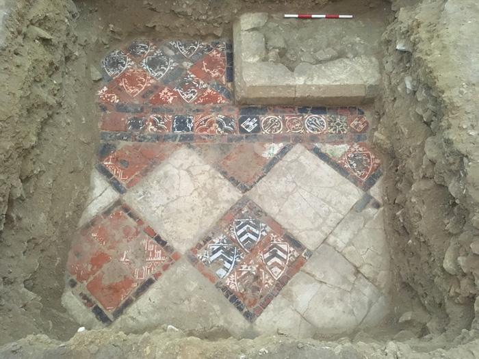 A spectacular medieval tiled floor near the abbey's high altar