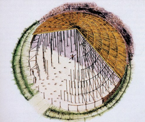 Reconstruction drawing of a large Iron Age structure with a roof covering half of it, posts and post-holes visible in the other half