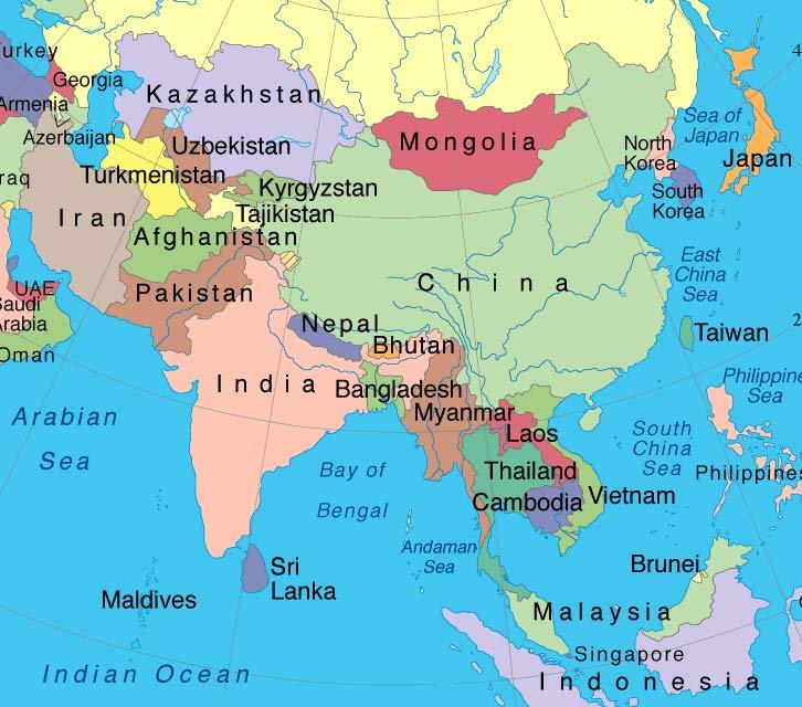 Asian region cambodia laos