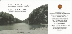 Invitation - Dr. Vidanapathirana - Settlement Patterns of the Malvatu Oya and Kala Oya Basins