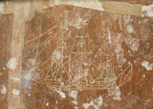 Sailing Ships and Temple walls