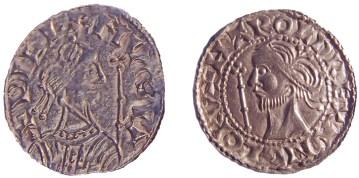 Pennies d'argento raffiguranti Harold (a sinistra) e Guglielmo (a destra)