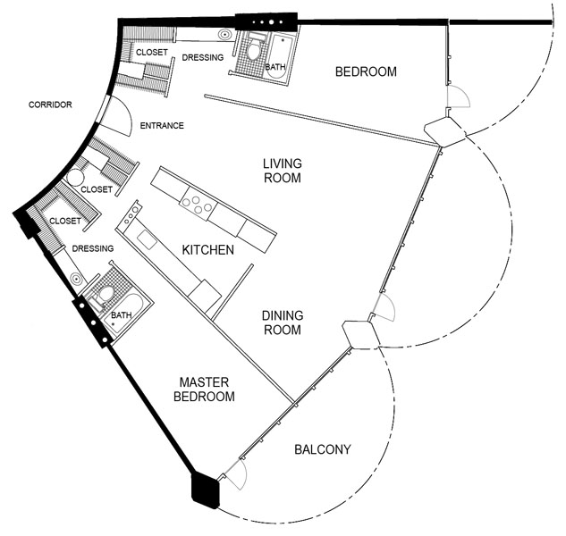 marina city_floorplan2BR 2 Bedroom Plan
