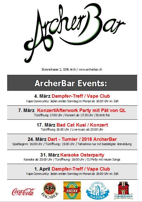 ArcherBar Veranstaltungen März 2018