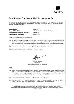 Liability Insurance Certificate