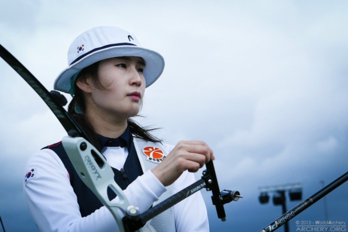 Olympic champion Ki Bo Bae of Korea moves her sight at the recent, very windy World Archery Championships. Photo credit: World Archery