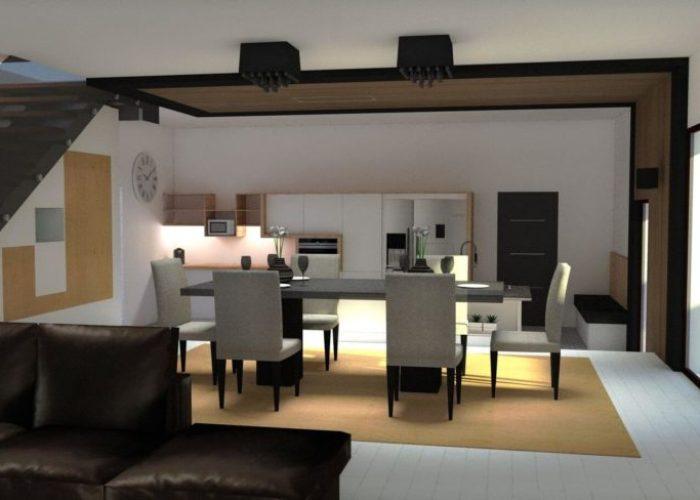 Simulation 3D pour une salle à manger spacieuse