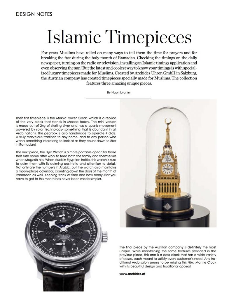 FLAIR Magazin - Islamic Timepieces