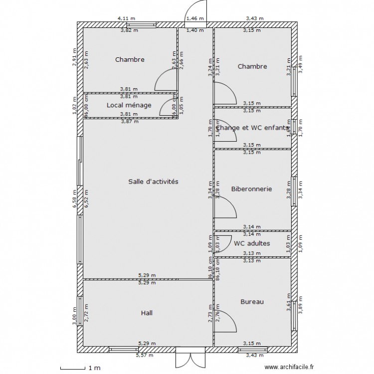 MICRO CRECHE GUIRADO Plan 9 Pices 108 M2 Dessin Par