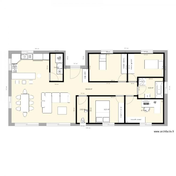 Plan Maison Rectangle 100m2 Plan 6 Pices 131 M2 Dessin