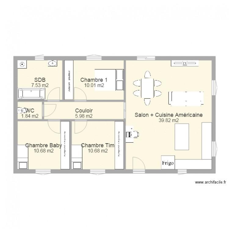 Maison 86m2 Plan 7 Pices 87 M2 Dessin Par Maquisard84