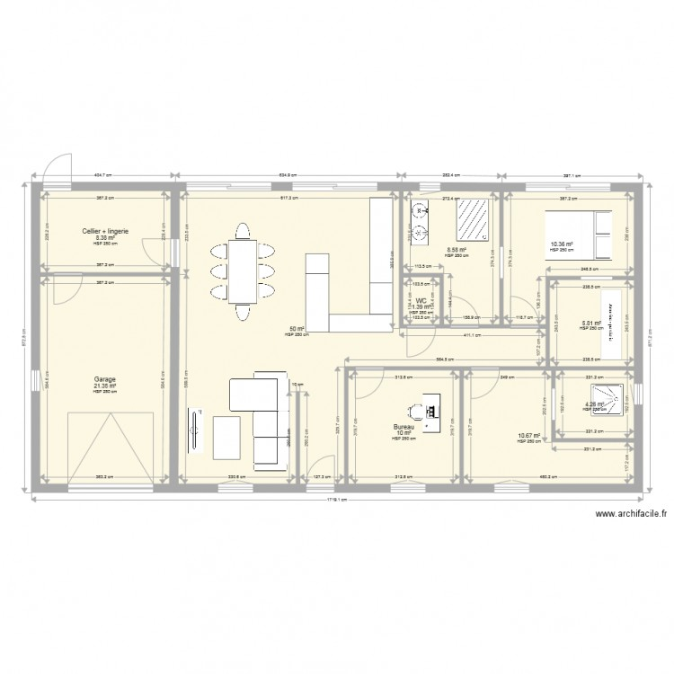maison plain pied 130 m2 rectangle