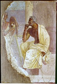 Attore e maschera - Pompei, I sec. d.C. - Affresco - Inv. 9036