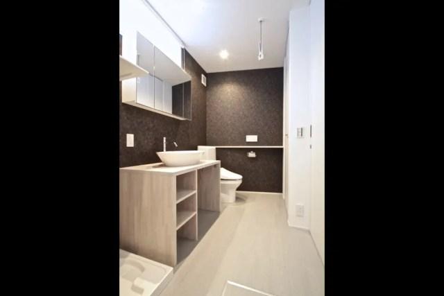 所沢市注文住宅:RU邸の洗面化粧台画像