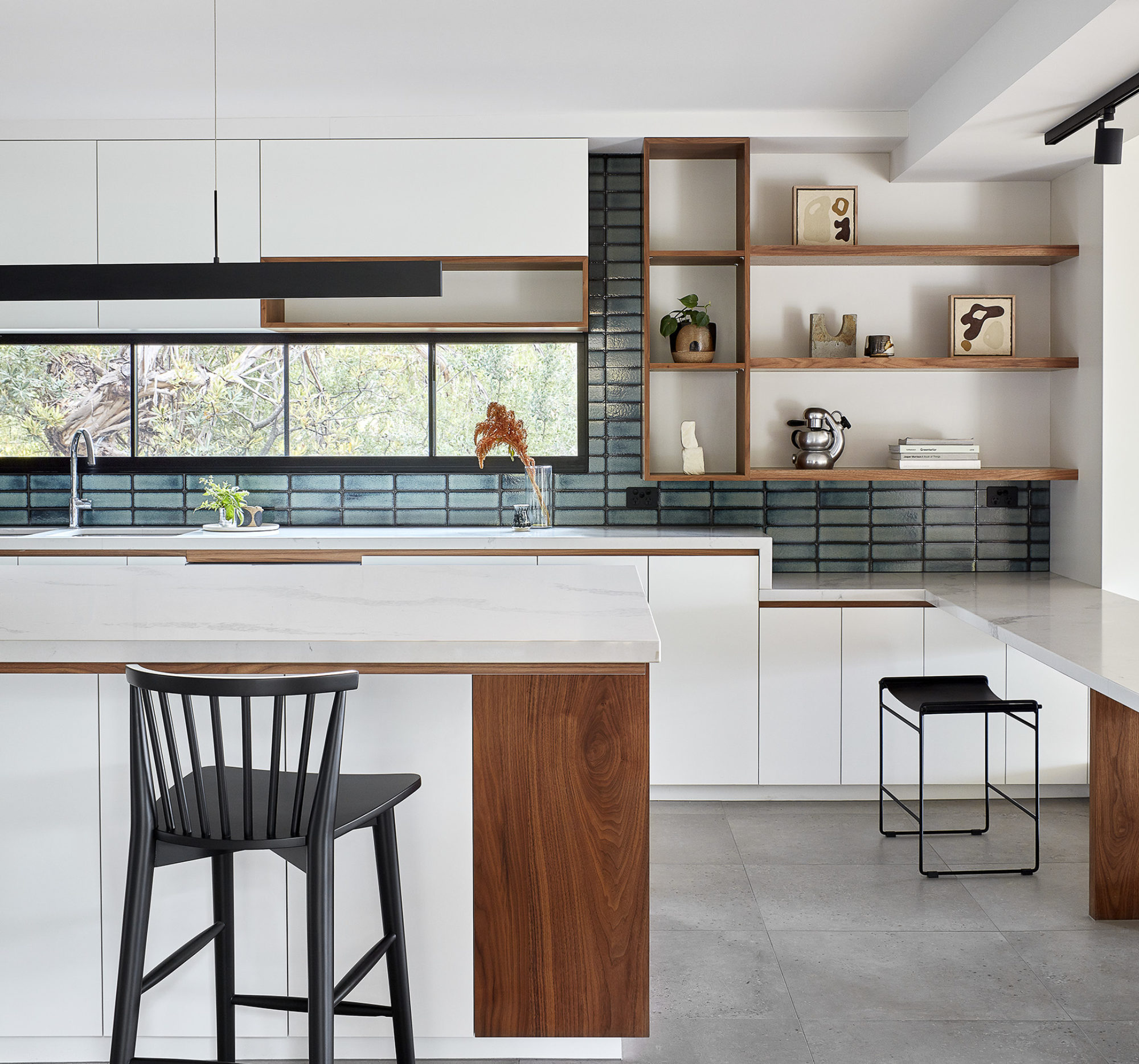 White Kitchen Stone Benches Timber Shelf