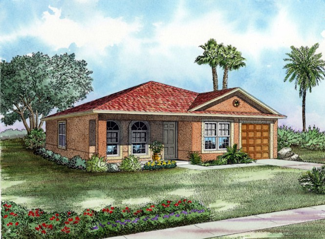 1243 9861 Large Rendering1 One Story Starter Home Or Retirement Retreat House Plan On Florida 1