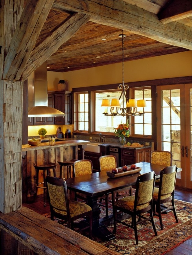 15 Warm & Cozy Rustic Dining Room Designs For Your Cabin on Farmhouse:-Xjylc6A2Ec= Rustic Kitchen  id=61050