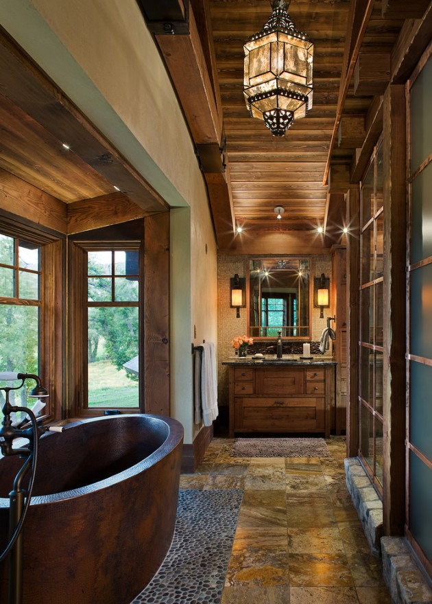 15 Heartwarming Rustic Bathroom Designs Perfect For The Winter on Rustic:s9Dkpzirpk8= Farmhouse Bathroom  id=87421