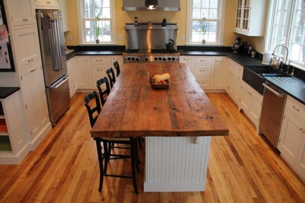 17 Charming Kitchen Countertop Designs Made Of Reclaimed Wood on Modern:0Bjn4Cem9Be= Kitchen Counter  id=33331