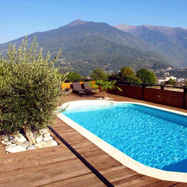 piscine et terrasse en bois avec une vue magnifique