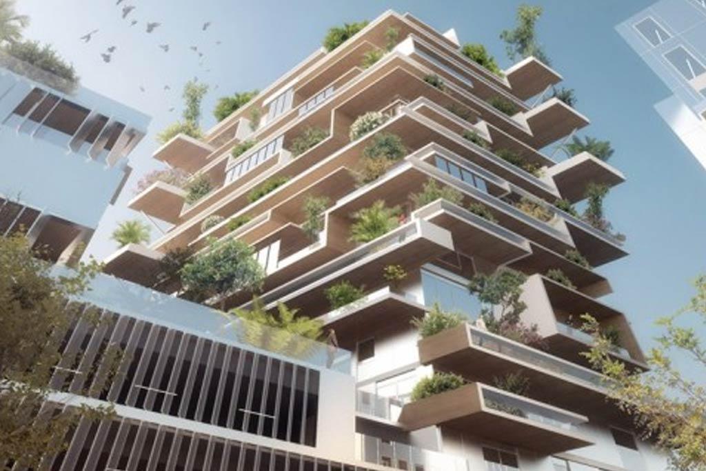 Modèle 3D du gratte-ciel en bois