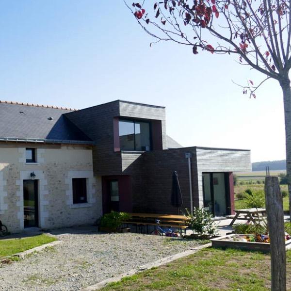 maison avec extension bois avec jardin