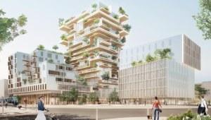 Vue 3D de la tour mixte bois béton Hypérion à Bordeaux © Jean-Paul Viguier Architecte/Eiffage/EPA Bordeaux Euratlantique
