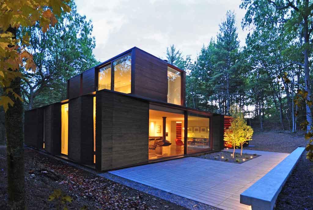 Maison bois forêt Wisconsin