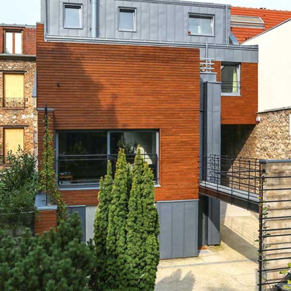 extension à ossature bois sur une maison de ville