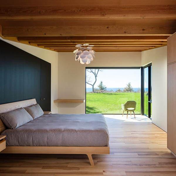 maison moderne bois chambre