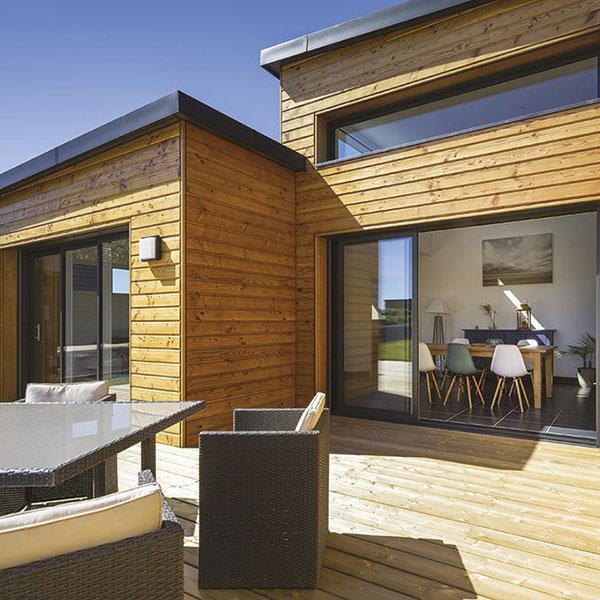 maison cubique en ossature bois dans le Finistère