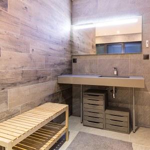 salle de bain en bois dans maison bois en Grande Est