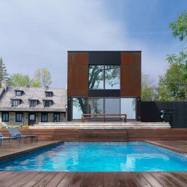 extension à ossature bois sur une maison en pierre